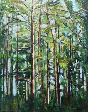 'Pine Forest' | Signed with the Artist's Monogram  | Oil on Canvas 70 x 56cm