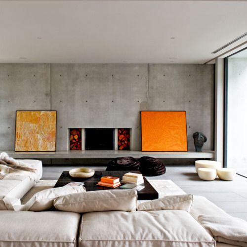 .: Orange, Living Rooms, Concrete Wall, Mills Architects, Fireplaces, Interiors Design, Interiordesign, Modern Interiors, Beaches Houses Design