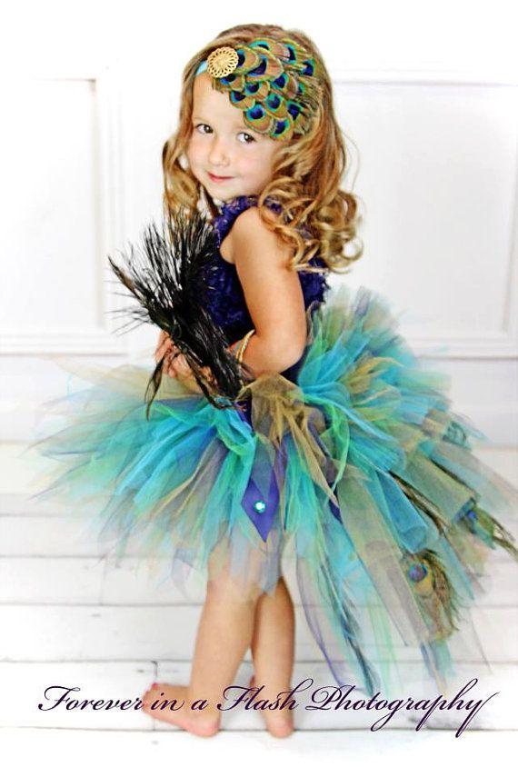 Infant Toddler Peacock Feather Bustle Tutu por TutuGorgeousGirl