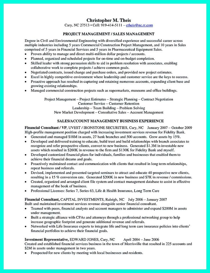 awesome Perfect Construction Manager Resume to Get Approved,
