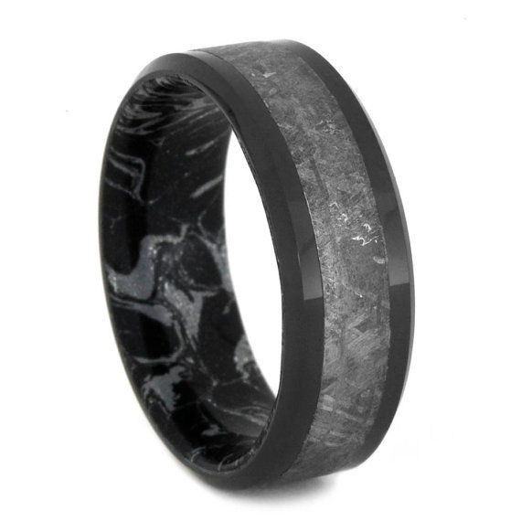 Meteorite Ring With Black Ceramic Handmade Ring By Jewelrybyjohan