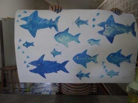 Рисунок акулы - морские трафареты (4)
