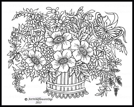 2 Coloring Pages Hand Drawn Downloadable By ArtWildflowersDigi