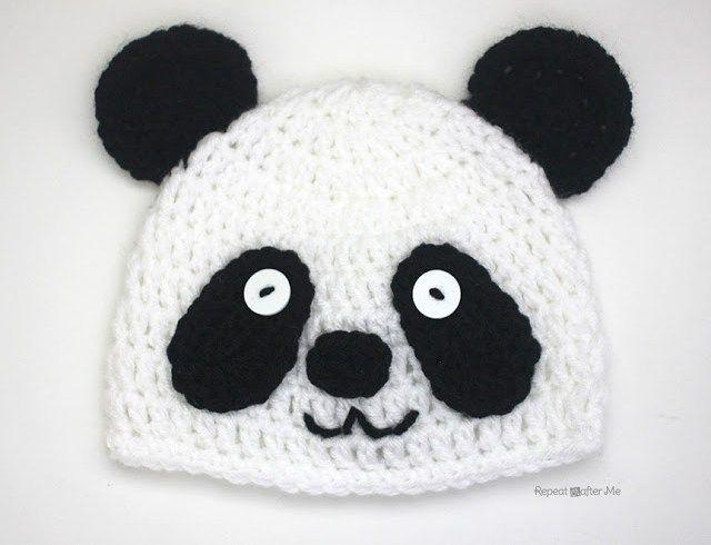Crochet Panda Bear Hat   CROCHET PATTERNS ALL FREE   Crochet hats, Crochet,  Crochet panda 0a81a197258