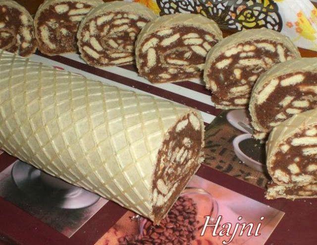 Hozzávalók:     2 db nagyobb ostyalap   Krémhez:   1 kg háztartási keksz   4 dl tej   50 dkg cukor   2 ek. kakaópor   20 dkg v...