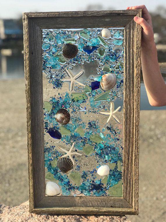 Medium Beach Glass Shells And Mermaid In Barnwood Frame Beach