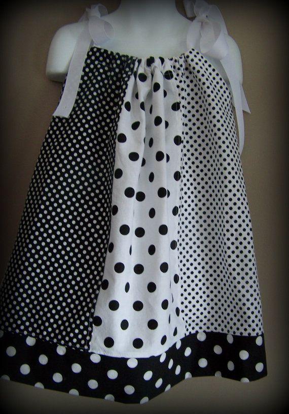FESTIVAL OF DOTS Girl, Toddler, Pillowcase Dress Black, White,Polka Dot Pattern White Grosgrain Ribbon on Etsy, $24.00 CAD