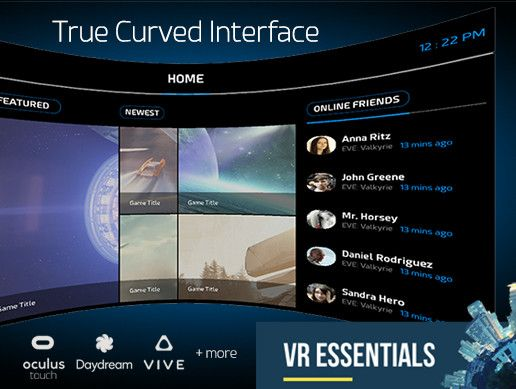 The only true curved user interface system on asset store. Based on uGUI canvas for best compatibility.   Interact with your curved canvas using ✔ Mouse ✔ Gaze ✔ Vive Controllers ✔ Oculus Touch ✔ Daydream Controller +Your own control method. Just pass Ray for input direction and a Bool for button state to CurvedUI Input Module and it will handle the rest.  All with 10-seconds setup.  An all-in-one VR interface package designed for the new Unity GUI system. Bends the Canvas in world space…