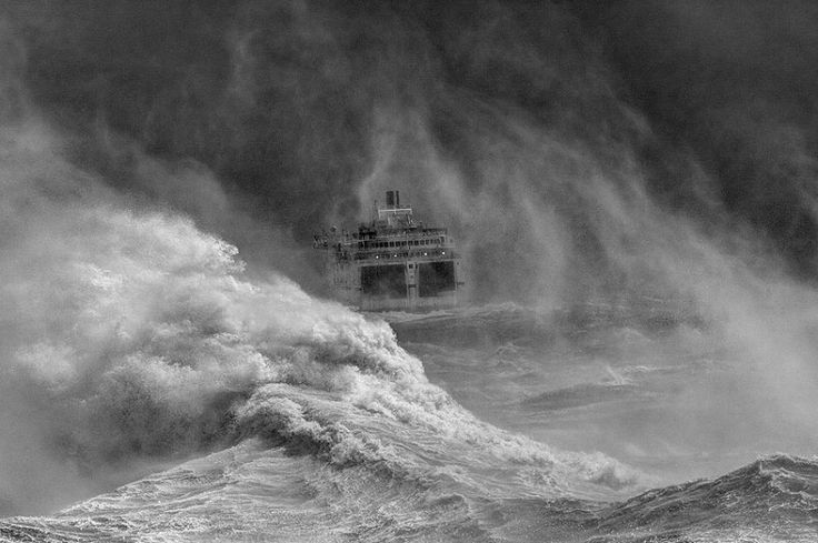 Ferry leaving Newhaven harbour in storm, East Sussex by David Lyon, winner of the Your View category
