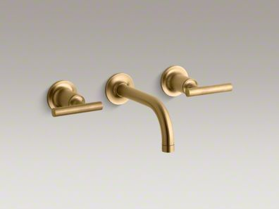 Purist Wall Mount Bathroom Sink Faucet Kohler Brushed Gold