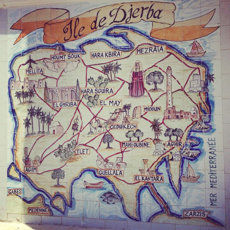 Map of Djerba on one old house
