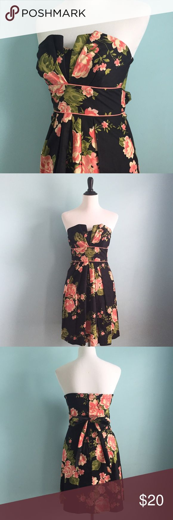 Black & Peach Floral Dress Beautiful black dress with peachy pink colored flowers. Strapless Crumb catcher neckline with tie back. Size 4 by B. Smart. Dresses Strapless