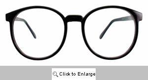 Valedictorian Big Round Clear Lens Glasses - 387 Black