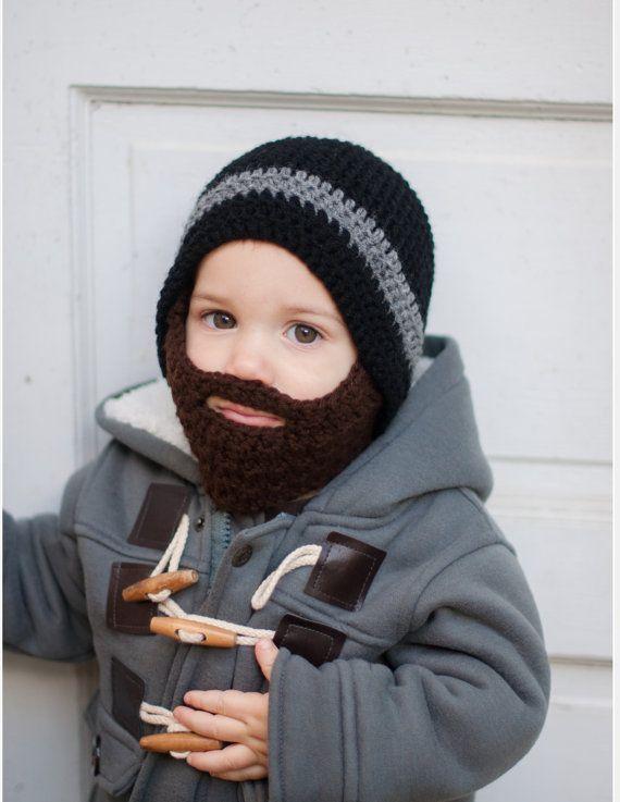 Crochet Beard Hat with detachable beard - Baby beard hat - Lumberjack hat…