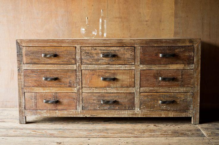 9 Drawer Rustic Reclaimed Wood Dresser
