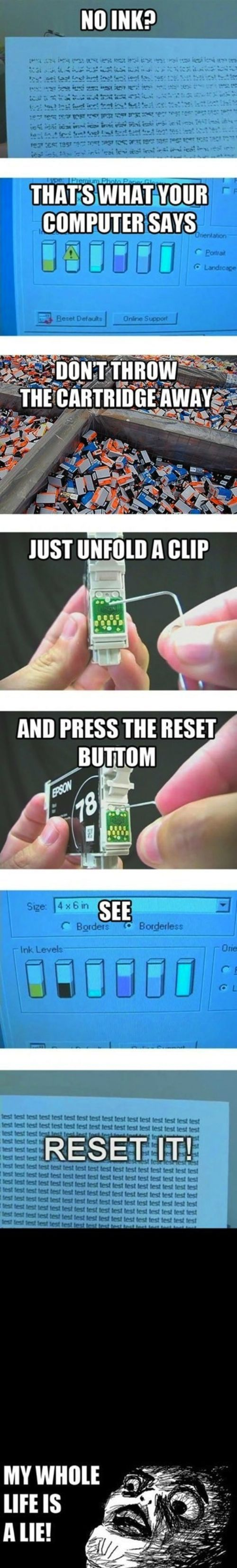 Think you have no ink left? Think again.: Reset Ink Cartridges, Ideas, It Work, Random, Lifehacks, Interesting, Life Hacks, Diy, Printer Ink