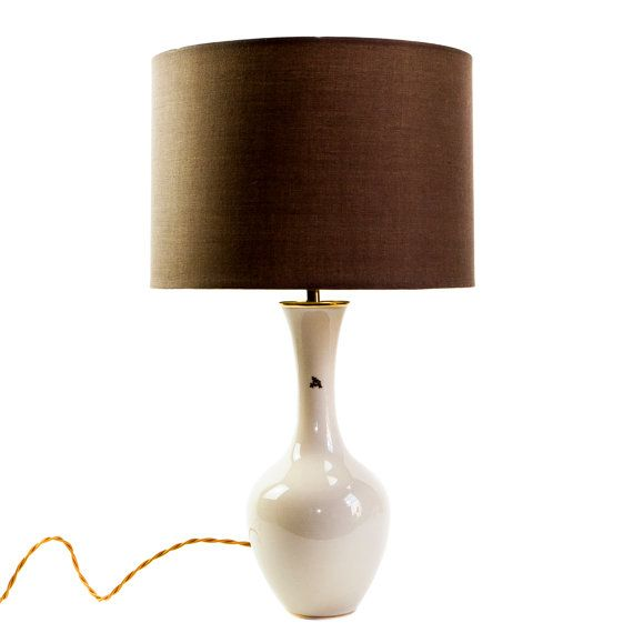 Vintage German Porcelain Lamp with Taupe Cotton by TygerDesign