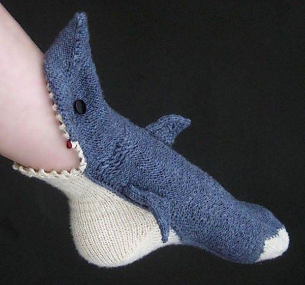 Gestrickte Hai-Socken