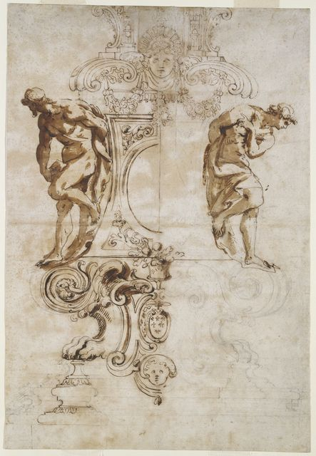 """Drawing, """"Design for the Base of the Silver Crucifix for the High Altar of Saint Peter's, Rome"""", 1670–72"""