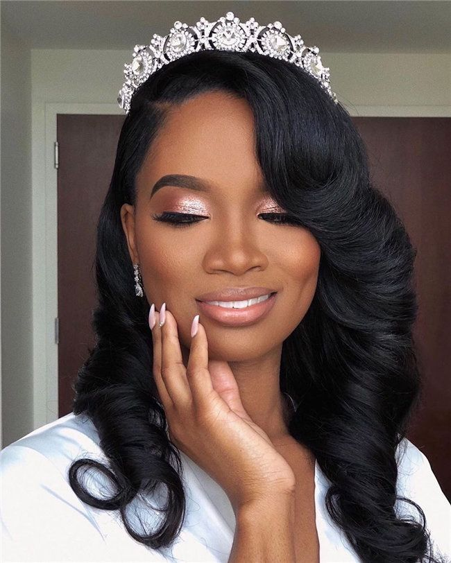 28 Black Women Wedding Hairstyles To Rock Page 10 Of 28 You And Big Day In 2020 Black Bridal Makeup Black Brides Hairstyles Black Wedding Hairstyles