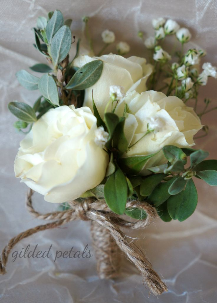 Gilded Petals cream and white corsage - use a silk wrap tie instead of burlap rope - for mothers and grandmothers