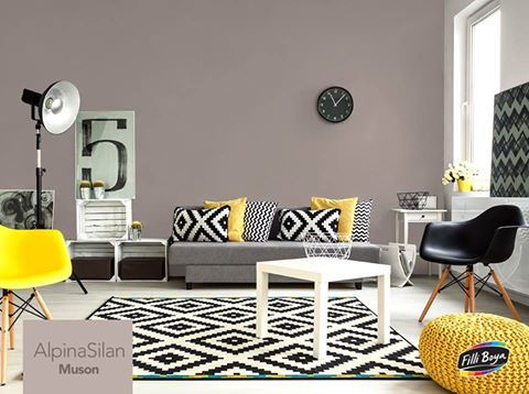 Sadeliğin şıklıkla buluştuğu minimalist bir dekor için AlpinaSilan Muson rengini tercih edebilir, sarı renkli kırlentler ve sandalyelerle kontrast yaratabilirsiniz. http://bit.ly/1nCvhcn