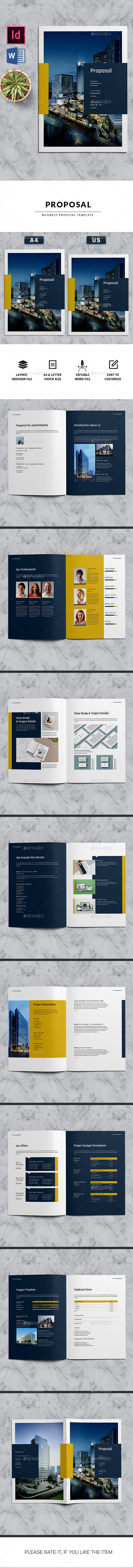 Proposal Brochure Template InDesign INDD, MS Word - 16 Pages A4 & Letter Size
