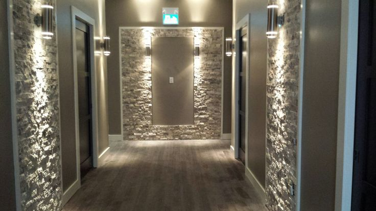 This is a spa I designed. It is the corridor.  Used white and grey limestone.