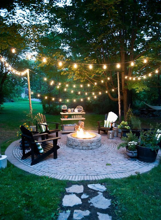 brick is often used for patios with fire pits because it's very safe