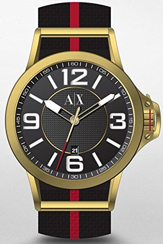 Armani Exchange Men's AX1581 Red and Black Canvas  Watch #Watch