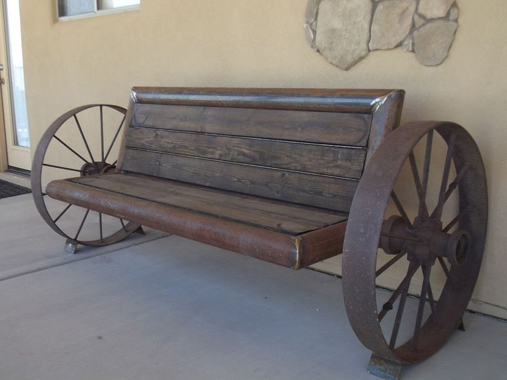 CUSTOM RUSTIC ANTIQUE STEEL WAGON WHEEL BENCH