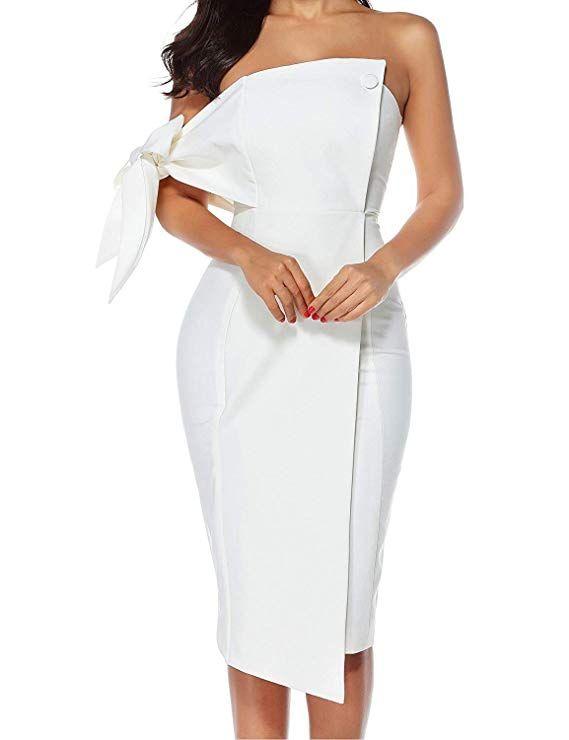 21947b28daf Women s Off Shoulder Fashion Dress Bow Midi Bodycon Cocktail Dresses ...