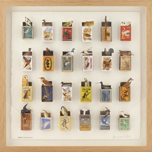 A framed collage combining vintage matchboxes and painstakingly cut out elements from books and postage stamps. The matchboxes are found at boot-fairs and charity shops with many originating in Eastern Europe and some dating from the 1950's.