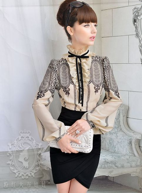 Retro Style Flounced Puffy Sleeve Blouse - not sure why but I like this blouse. Nizar
