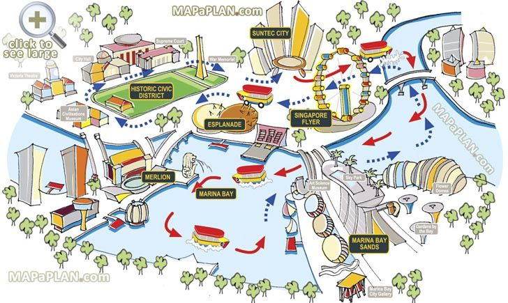 Great things to do with family and kids Birds eye 3d aerial view Singapore top tourist attractions map