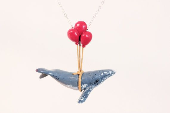 Humpback Whale Learns to Fly - Sterling Silver - Made To Order - Whale Necklace, whimsical animal jewelry, with balloons
