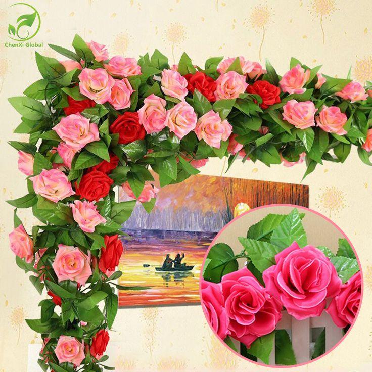 Atacado 245 cm Falso Rosas De Seda Videira Hera Artificial Guirlanda de Flores Com Folhas Verdes de Casamento Decoração Home Da Parede De Suspensão Decoração