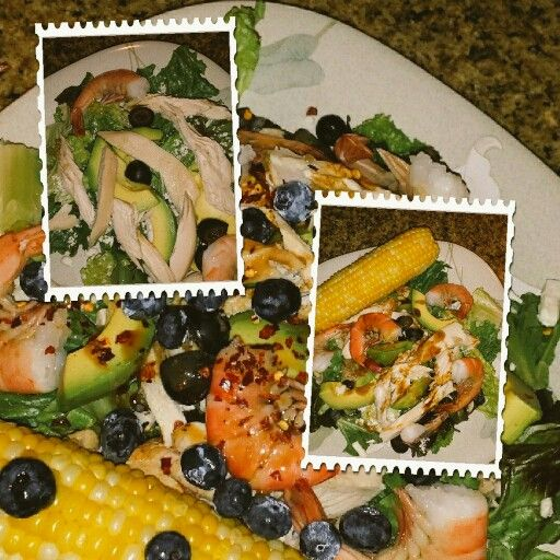 """Dinner salad""  with leftover Sam's Club rotisserie chicken,  defrosted frozen cooked shrimp, red leaf lettuce, pitted olives, fresh corn-on-cob , avocado,  blueberries,balsamic vinaigrette"