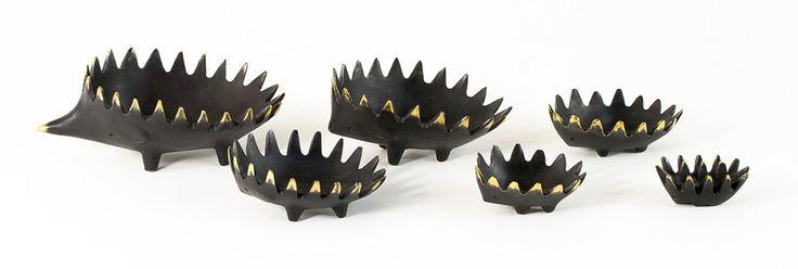 Walter Bosse Bronze Hedgehog Ashtrays