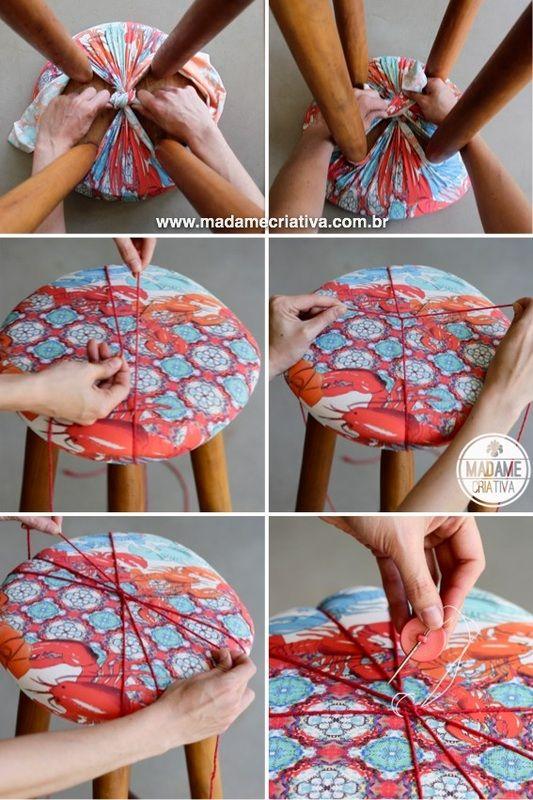 ARTESANATO COM QUIANE - Paps,Moldes,E.V.A,Feltro,Costuras,Fofuchas 3D: Como reformar um banquinho com tecido e sem costura