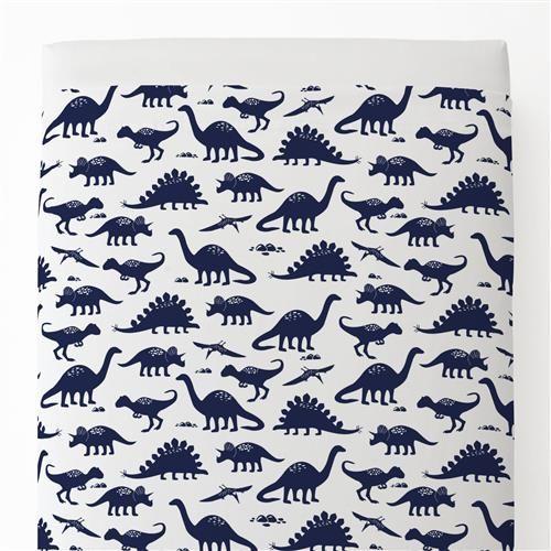 Navy Dinosaurs Toddler Bed Sheet Top Flat