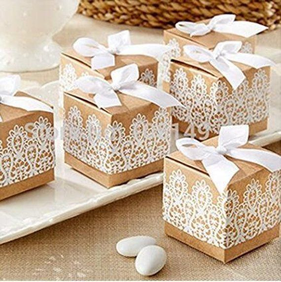 50pcs Sweet Lovely Decoration Candy Box Paper Boxes Gift Box Rustic Lace Kraft Favor Box With Ribbon Wedding And Party Wedding Favor Boxes Candy Wedding Favors Vintage Wedding Favors