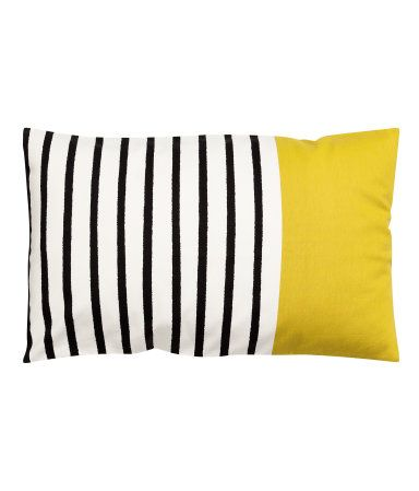 Striped pillow with yellow color block | Home decor that pops