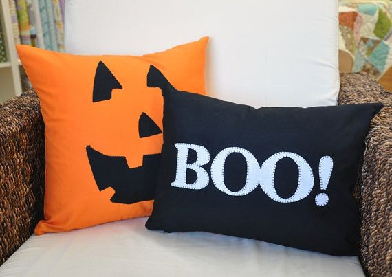 Pair of Spooky Halloween Pillow Covers 12 x 16 inch by pillowhound, $29.95