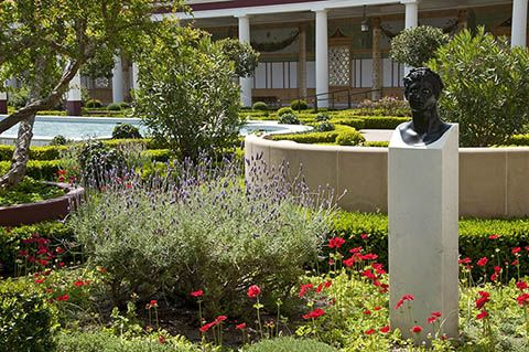 View of the Outer Peristyle Garden at the Getty Villa.