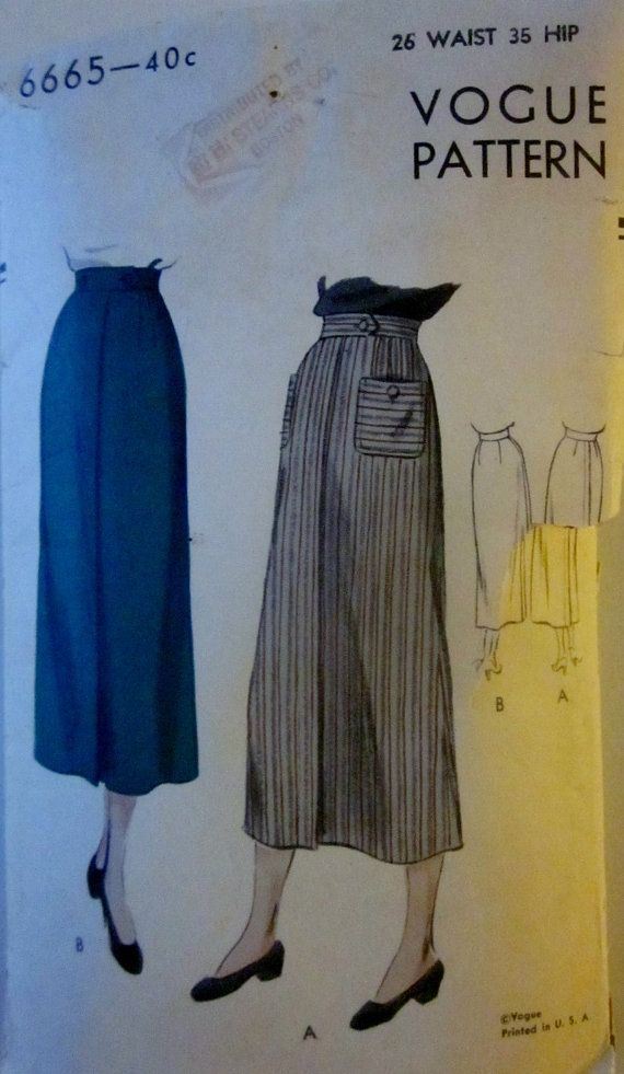Vogue 6665 Vintage 1940s Long Pencil Skirt Sewing by Denisecraft, $12.99