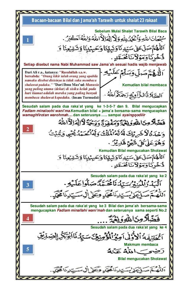 Doa shalat tarawih dan bacaan bacaan bilal in 2020 Doa