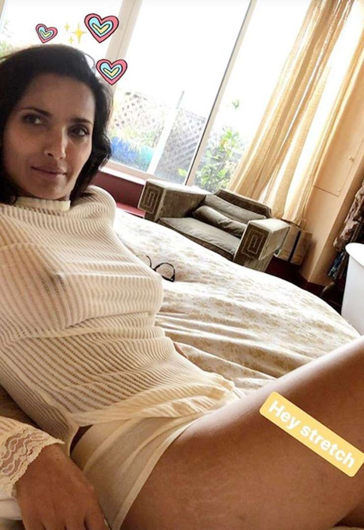 """The Top Chef host proudly showed off her stretch marks in an Instagram story. """"Hey stretch,"""" she wro... - Padma Lakshmi Instagram"""