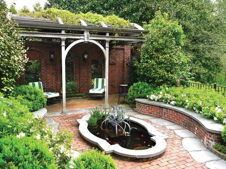 1000 ideas about brick courtyard on pinterest paver for Brick koi pond