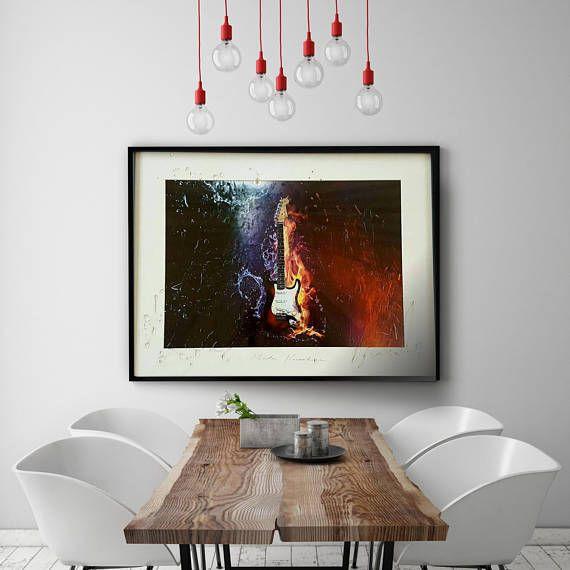 guitar wall art art print electric guitar poster musical